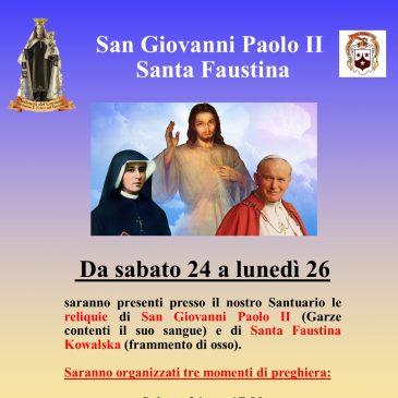 Le reliquie di San Giovanni Paolo II e Santa Faustina Kowalska in Santuario